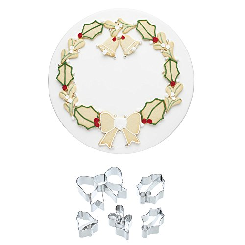Wreath Cookie Cutter - KitchenCraft Sweetly Does It Christmas Wreath Cookie Cutter Kit (5-Piece Set)