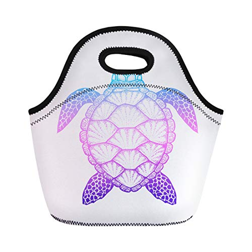 Semtomn Neoprene Lunch Tote Bag Animal Sea Turtle in Line Top View for Coloring Reusable Cooler Bags Insulated Thermal Picnic Handbag for Travel,School,Outdoors,Work ()