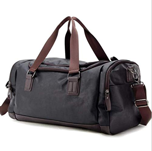 RUIMA Luxurious Bag Made with Leather - Gym Bag with Large Zippered Interior, Shoe Compartment, Adjustable Straps (Color : Black) from RUIMA