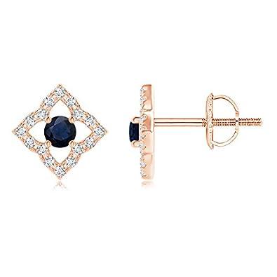 Angara Vintage Inspired Blue Sapphire Clover Stud Earrings GiSLYC93