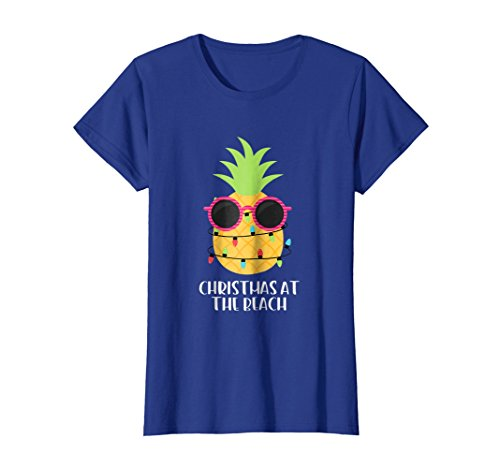 - Womens Christmas At The Beach Pineapple Christmas In July T-Shirt Large Royal Blue