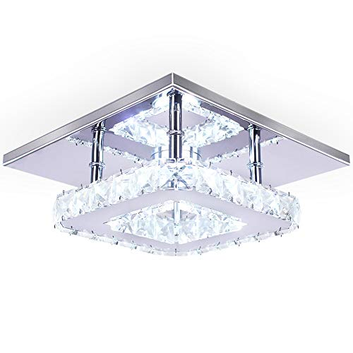 (Dixun Modern Crystal Chandelier 7.9 Inches Led Ceiling Light Mini Square Flush Mount Ceiling Light for Bedrooms Dinning Rooms Hallway(Cool)