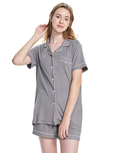 SIORO Pajamas Soft Cotton Pajama Set Short Sleeve Sleepwear for Women Ladies Lightweight Pajamas Loungewear Gown with PJ Shorts, Gray with White Piping, M