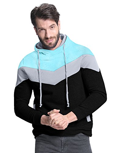 StyleDome+Men%60s+Casual+Slim+Fit+Pocket+Hoodies+Coats+Jackets+Sweatshirt+Tops+Light+Blue+Black+XL
