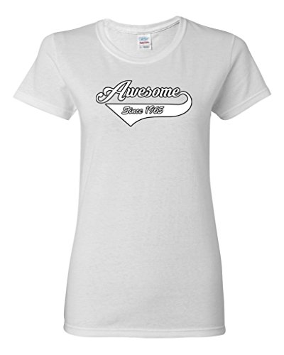 1965 Tail - Ladies Awesome Since 1965 With Tail Gift Novelty DT T-Shirt Tee (XXX-Large, White)