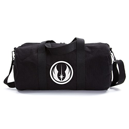 White And Black Logo (Jedi Order Logo Sport Heavyweight Canvas Duffel Bag in Black & White, Large)