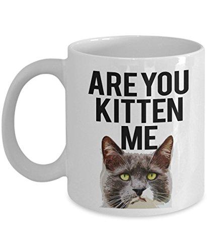 Cat Face Mug - Are you Kitten Me - 11 oz- Coffee Cat - Face Audrey Shape Hepburn