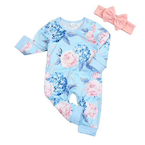 - Younger Tree Toddler Newborn Baby Girls Romper Full Flower Long Sleeves Infant Fall Clothes (Blue, 12-18 Months)