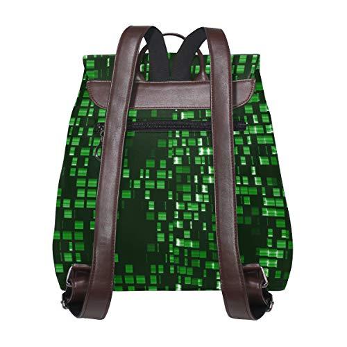 Kvinnor PU-läder abstrakt grönt mönster ryggsäck handväska resa skola axelväska ledig dagväska