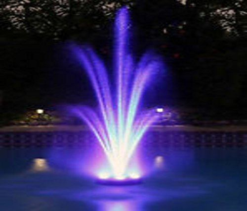 - Ocean Mist MAGIC POND FLOATING FOUNTAIN PJ2000-6C Includes 1580 GPH Pump, 360 RBG LEDs in Light Ring, Auto Color Change, Nozzles, 33 Foot Power Cords