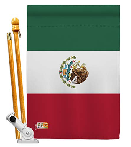 "Americana Home & Garden HS140154-BO Mexico World Nationality Decorative Vertical House Flag Set, 28""x 40"" w/Flagpole, Multi-Color"