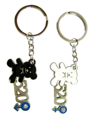 2 Piece Black and White Teddy Bear Best Friends Forever Keychain Rings