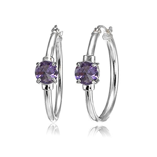 Sterling Silver Simulated Alexandrite Solitaire 25mm Hoop -