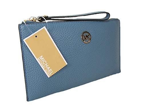 New Michael Kors Logo Wristlet Purse Genuine Leather Sky Blue Gold Fulton Clutch by Michael Kors