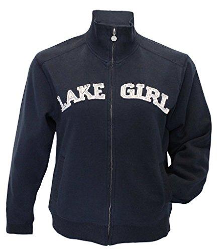Lakegirl Full Zip Classic Track Jacket sweatshirt, NAVY, MEDIUM