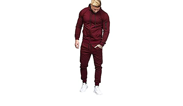 Chercherr Mens Winter Casual Solid Patchwork Zipper Sweatshirt Top Pants Hoodies Sets Sports Suit Tracksuit 3XL, Wine Red