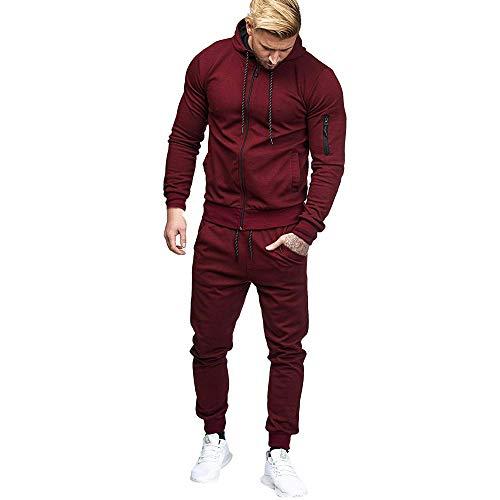 Hoodies For Men, Clearance Sale! Pervobs Men's Autumn Patchwork Zipper Sports Suit Tracksuit Sets Sweatshirt + Pants(2XL, Wine -