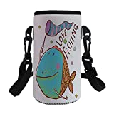 iPrint Small Water Bottle Sleeve Neoprene Bottle Cover,Fat Fish Holding a Flag with Love Quote Humor Fun,fit for Stainless Steel/Plastic/Glass Bottles