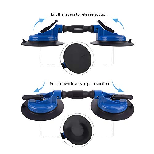 IMT Heavy Duty Dual Vacuum Suction Cup Glass Lifter with Curved Pads, Strength Handheld Stone Handling Tool, 330lb Horizontal Suction Cup by IMT (Image #4)