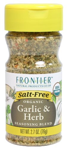 - Frontier Salt Free Organic Seasoning, Garlic and Herb, 2.7 Ounce