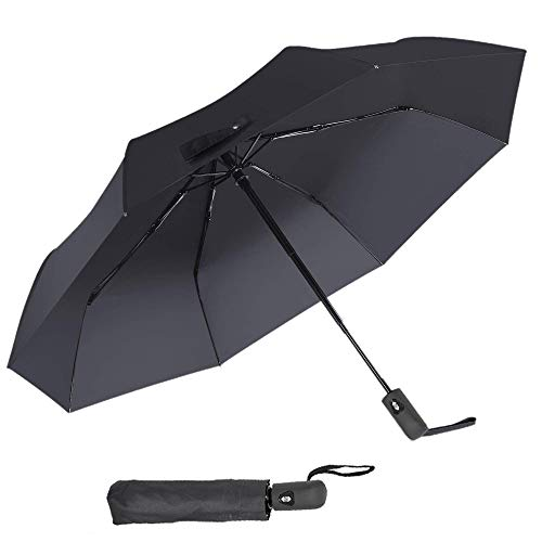 Windproof Umbrella 42'' Auto Open & Close Folding Travel Umbrella Portable Ultraviolet Protection Reinforced 8 Ribs Fiberglass Frame Black ()