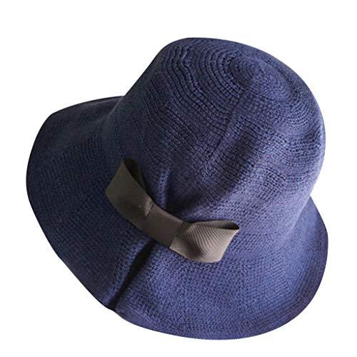 HYIRI Sun Hat Summer Beach Caps ,Ladies Wide Straw Foldable Travel Bow -