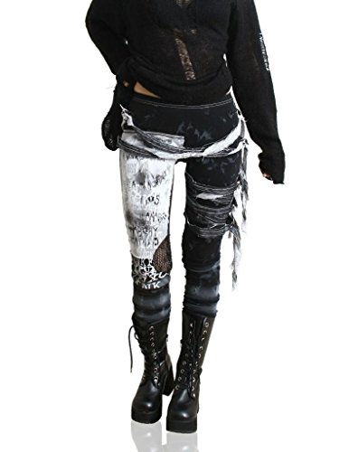 Refuse to be Usual women's Ultra long Tie Dye Gothic Punk Leggings Black Medium