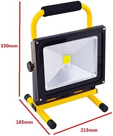 Lámpara de trabajo de foco reflector LED IP65 30 W, con batería ...