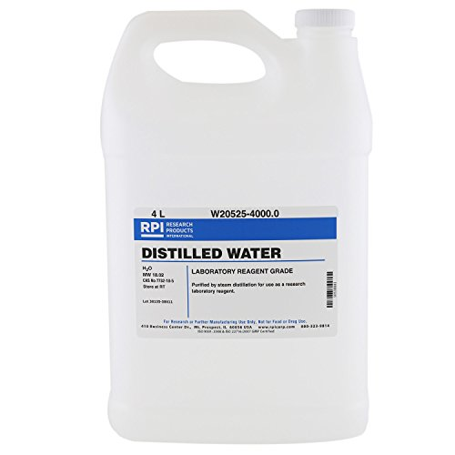 Distilled Water, Laboratory Reagent Grade, 4 Liters
