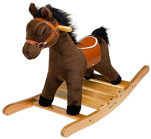 Melissa & Doug Bundle Includes 2 Items Plush Rocking Horse - Wooden Base and Handles Plus Saddle and Harness Farm Wooden Chunky Puzzle (8 pcs)