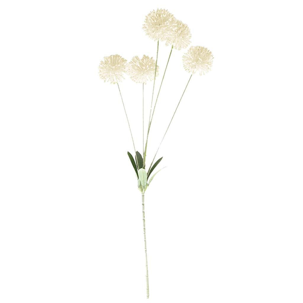 Goldweather Lifelike Artificial Silk Fake Flowers Dandelion Floral Wedding Bouquet Hydrangea Decor Simulation Flowers (White)