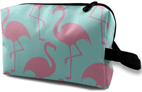 Pink Flamingos Print Travel Makeup Bag Train Case Toiletry with Zipper for Women or Girls