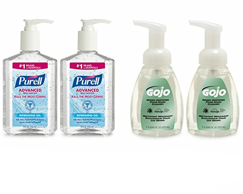 Advanced Hand Sanitizer Gel and GOJO Green Certified Foam Hand Cleanser Kit, 2 - 8 fl oz PURELL Sanitizer Pump Bottles, 2 - 7.5 fl oz GOJO Foam Hand Cleaner Pump Bottles - 9652-SS-EC