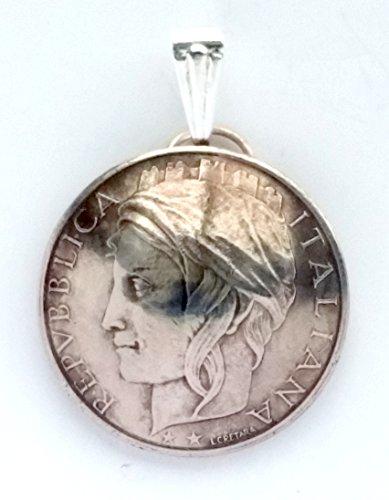 (Italian Coin Pendant Woman Portrait Vintage Necklace Italian Jewelry Unique World Travel Italian Charms Italian Jewelry Made in Italy)
