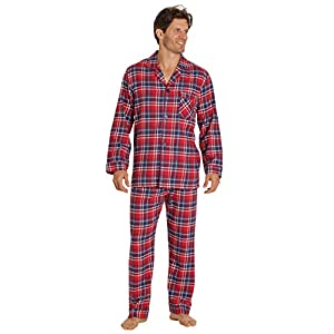EVERDREAM Sleepwear Mens Flannel Pajamas, Long 100% Cotton Pj Set