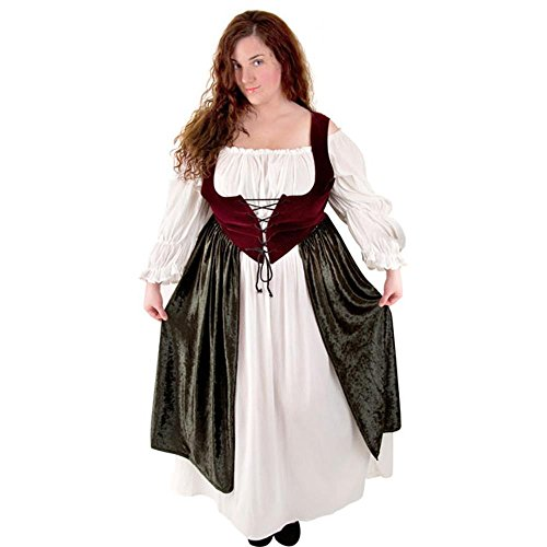 Women's Wine/Moss Village Wench Costume (XL 14-16) - Village People Costumes For Sale
