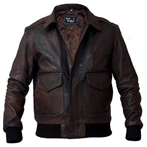 Men's Distressed A-2 Aviator Flight Real Leather Navy Bomber Flying Air Force Jacket (Medium)