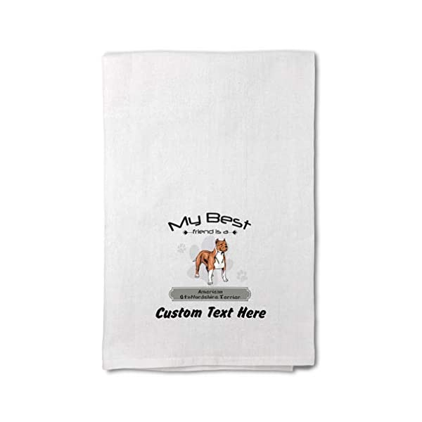Custom Decor Flour Kitchen Towels Friend American Staffordshire Terrier Pets Dogs Cleaning Supplies Dish Towels Design Only 1