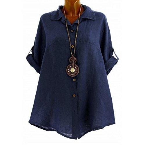 BODOAO Women's Casual Cotton and Linen Tops Half-Sleeve Shirt Button Blouse