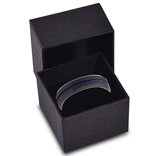 Tungsten Wedding Band Ring 6mm for Men Women Purple Black Beveled Edge Brushed Polished Center Line Lifetime Guarantee