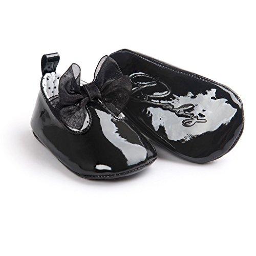 Zapatos de bebé,Auxma Zapatillas Bowknot Niña,Zapatos no deslizantes blandos para 0-18 meses Negro
