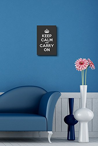 Keep Calm and Carry On Stretched Deep Grey