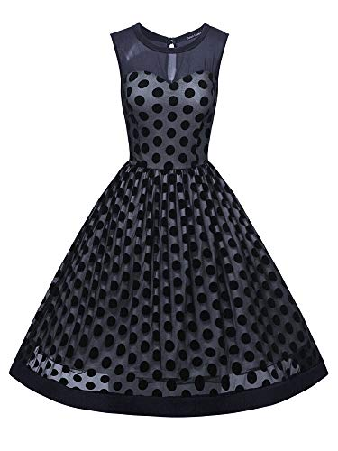 (oxiuly Women's Vintage Polka Dot Sleevelss O-Neck Casual Work Party Evening Swing Dress OX253 (L, NB Dot))