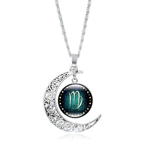 Women Girls Vintage Silver Horoscope Zodiac 12 Constellation Astrology Galaxy & Crescent Moon Glass Bead Pendant Necklace ()