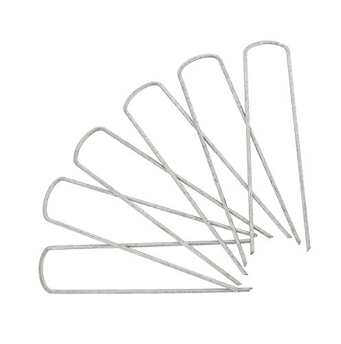 7Penn Landscape Stakes 100-Pack - Galvanized Steel Garden Staples - Lawn Sod Edging Pegs, Yard Landscaping Anchor Points (3 Mm Edging)