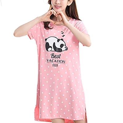LLP Nightwear Youth Girls Pajama Knit Cotton Dress Lovely Panda Loungewear