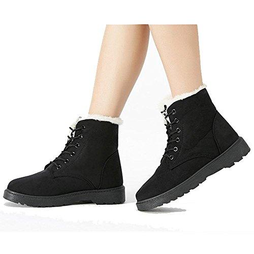 Peluche Calzature Casual Calda Pelle Più Cotone Scamosciata Boots Scarpe In Piana Heel Short black Martin In Scarpe Donne qxOC7PwRW