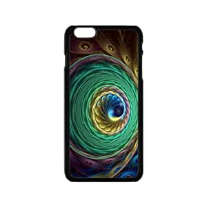 Amazing Colorful Peacock feathers pattern Custom Case for iPhone6 4.7inch PC case cellphone cover black