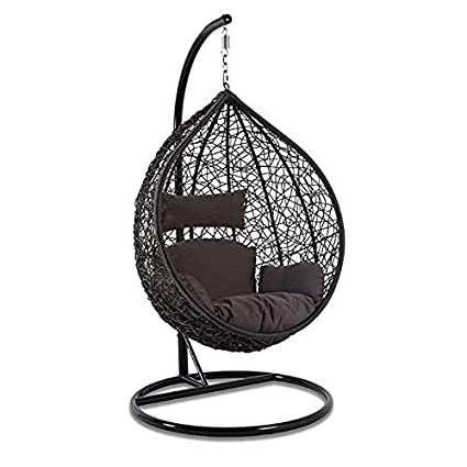 Hindoro Outdoor/Indoor/Balcony/Garden/Patio Swing Chair with Stand and Cushion Set