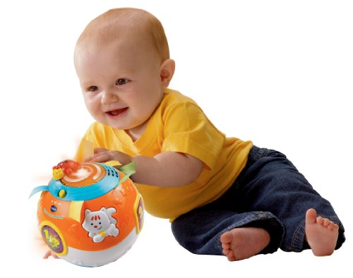 41sC8iiZrML - VTech Move and Crawl Baby Ball, Orange (Frustration Free Packaging)